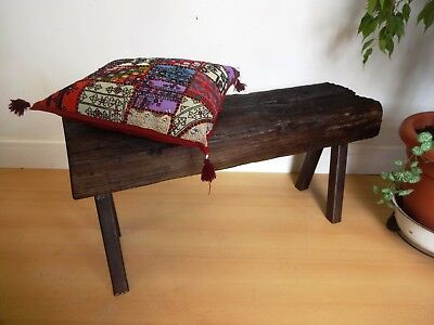Lovely Wooden Metal Leg Pig Bench Style Stool Coffee Table
