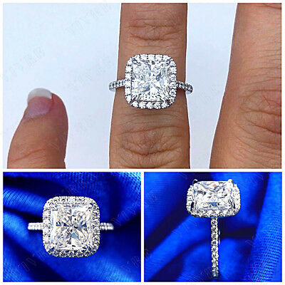 2.50ct Princess & Round Cut Diamond Halo Engagement Ring 10k White Gold Women's