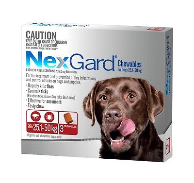 Nexgard Chewables for Dogs 25.1 - 50kgs RED Flea & Tick ALL SIZES