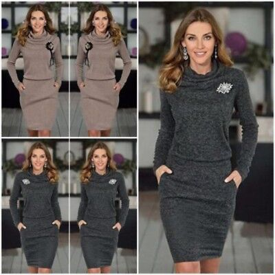 cee83a22de9 Frauen Strickkleid Winter Langarm Damen Dünner Strickjacke Pullover  Minikleid DE