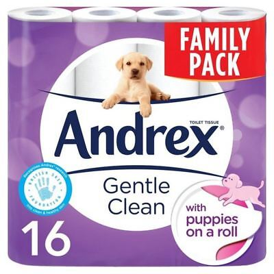 2x Andrex Gentle Clean Toilet Tissue 16 per pack