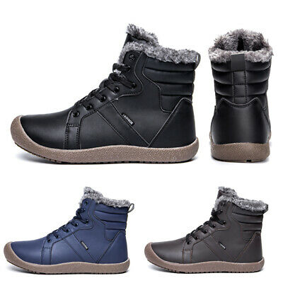 Men's Waterproof Leather Hiking Ankle Winter Fashion Shoes Lace Up Snow Boots