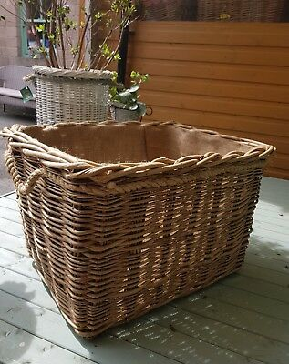 Extra strong large rectangular log basket with lining