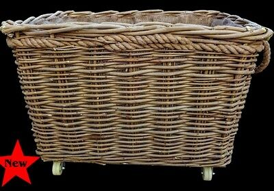 extra strong large log basket with wheels and lining