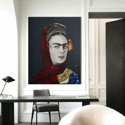A Portrait Of Frida Kahlo Flowers Canvas Figure Painting Wall Art Pictures New