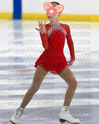 Ice skating dress. red Competition Figure Skating dress. Baton Twirling Costume