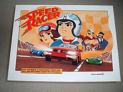 Vintage 1996 Speed Racer Poster GTI Volkswagen Drivers Wanted Advertising