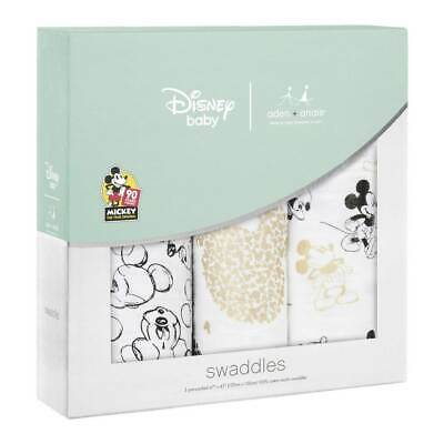 NEW aden + anais 3 Pack Classic Swaddles - Disney Mickey 90th (Limited Ed)