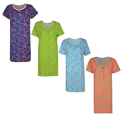 Ladies Nightie Printed Nightdresses Ex Store Short Sleeve Uk 8-26 Brand New