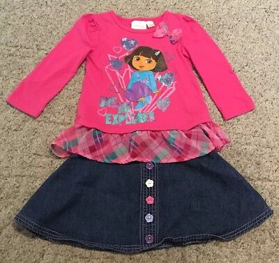 Dora The Explorer Tunic Top & Denim Jean Skirt Outfit Set ~ Size 3-4 ~ Sparkles!