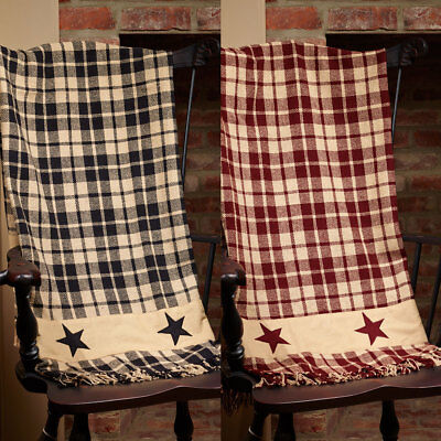 Primitive Farmhouse Star Country Throw Blanket, Burgundy or Black and Tan