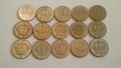 50 pcs 40/% silver coins Silver type coin lot Sweden 10 Ore 1942-1950