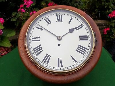 #055 Antique Mahogany Station/office Wall Clock 8-Day Gut Wire Fusee Movement