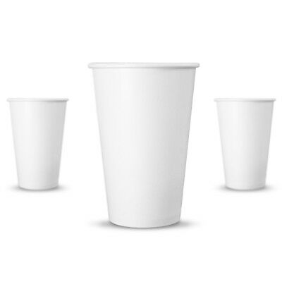 200 Ct. 16 Oz. Eco Friendly White Paper Hot Tea Coffee Cups Disposable No Lids