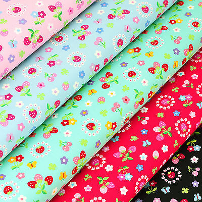 Cotton Fabric per FQ Kawaii Daisy Ditsy Floral Strawberry Cherry Butterfly VK112