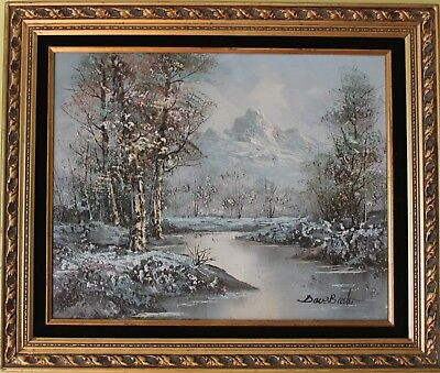 Original Framed Oil Painting on board Landscape, Winter,  Signed
