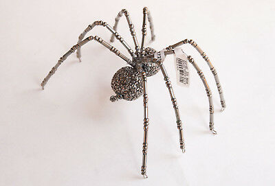 Pottery Barn jeweled spider object  Halloween   small silver gray