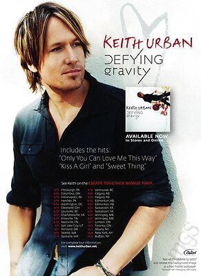 Keith Urban 1-page clipping 2009 ad for album Defying Gravity