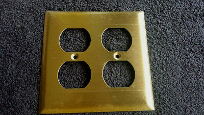 Vintage New Old Stock Shiny Brass Double Outlet Cover Plate w/Screws (13 Total)