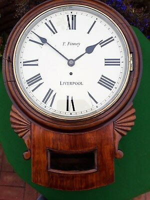 #054 ANTIQUE c1863 DROP DIAL WALL CLOCK 8DAY FUSEE MOVEMENT**FINAL REDUCTION**