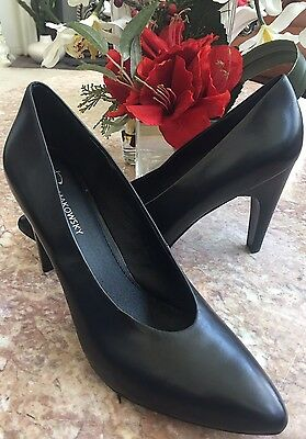 a937f2c585d New B. Makowsky Misty Black Leather Heel Classic Pumps Shoes Size 10M