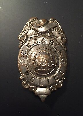 Early 1930's CCC&STL Railroad Police Badge From Ohio