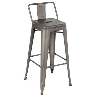 Metal Vintage Stool Kitchen Breakfast Bar Stools Sgabello Due Gun Metal