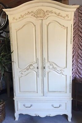 Ethan Allen ~ French Country Armoire ~ Painted Ivory Wardrobe ~ Beautiful