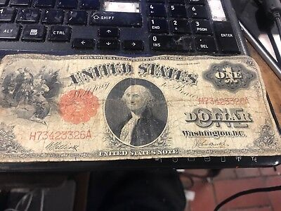 Series of 1917 $1 One Dollar Bill United States Note Red Seal - Legal Tender