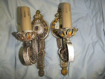Antique Art Deco/Nouveau Pair of Sconce Lamps - Polychrome Paint