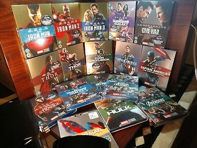 Marvel Avengers 17 Movies(Blu-ray,REGION FREE)Collector Slipcovers-NEW-Free S&H