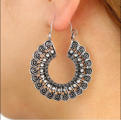 Gorgeous Ethnic Earring Large Decorated Crystal Earrings Antique Silver Hoop