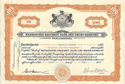 PENNSYLVANIA 1930, Kensington Security Bank & Trust Company Stock Certificate