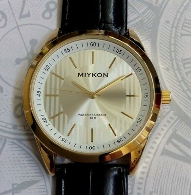 d968861b4f544 MIYKON Men s Gold Watch Round Silver Dial on Fine Black Leather Band  Waterproof!