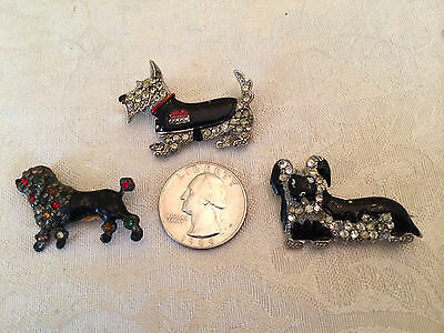 """Vintage Lot of 3 """"Jeweled"""" Enameled Metal, Scottie Poodle Dogs Pin Brooch p644"""