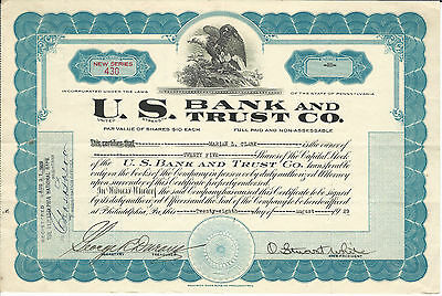 1929 PENNSYLVANIA  U S Bank and Trust Co Stock Certificate