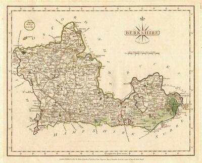Antique county map of BERKSHIRE by JOHN CARY. Original outline colour 1787