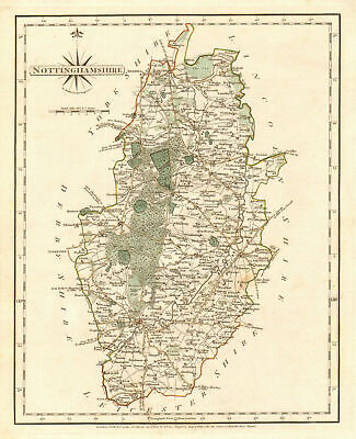 Antique county map of NOTTINGHAMSHIRE by JOHN CARY. Original outline colour 1787