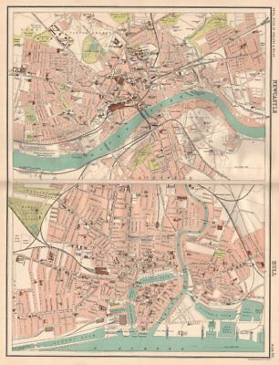 NEWCASTLE & HULL antique town city plans. BARTHOLOMEW 1898 old map