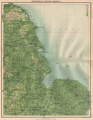 EASTERN ENGLAND. North York Moors. Lincolnshire Wolds. Wash. Humberside 1898 map