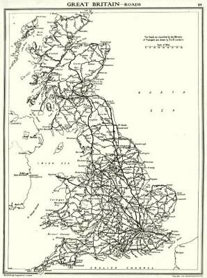 UK. Great Britain- Roads 1938 old vintage map plan chart
