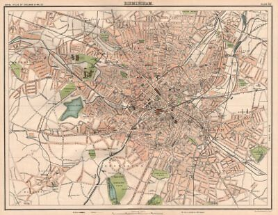BIRMINGHAM antique town city plan. BARTHOLOMEW 1898 old map chart
