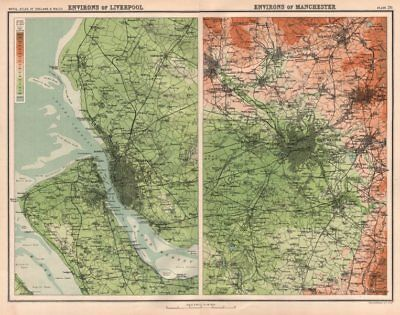 LIVERPOOL & MANCHESTER environs. Wirral Merseyside Oldham Bolton Bury 1898 map