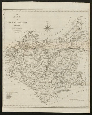 """""""A map of Leicestershire from the best authorities"""". County map. CARY 1805"""