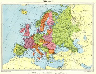 EUROPE. Europe shortly before World War 2 1938 old vintage map plan chart