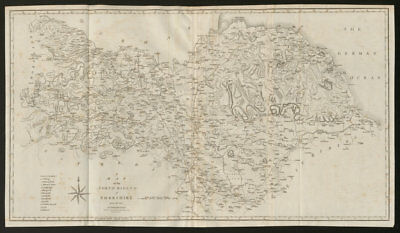 """""""A map of the North Riding of Yorkshire"""" by John Cary. County map 1805 old"""