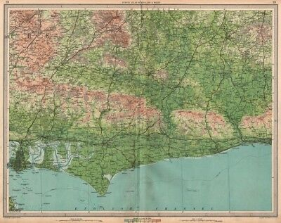 WEST SUSSEX Portsmouth Chichester South Downs Hove Worthing Bognor 1939 map