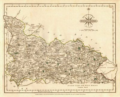 WEST RIDING OF YORKSHIRE-NORTH antique map by JOHN CARY. Original colour 1787