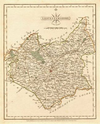 Antique county map of LEICESTERSHIRE by JOHN CARY. Original outline colour 1787