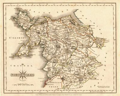 Antique map of NORTH WALES by JOHN CARY. Original outline colour 1787 old